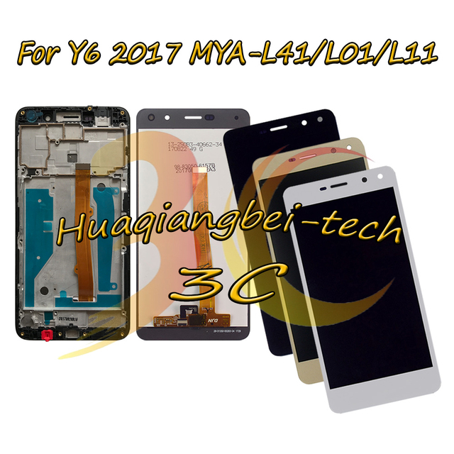 New For Huawei Nova Young 4G LTE MYA L11 / Y6 2017 MYA L41 MYA L01 Full LCD DIsplay + Touch Screen Digitizer Assembly With Frame
