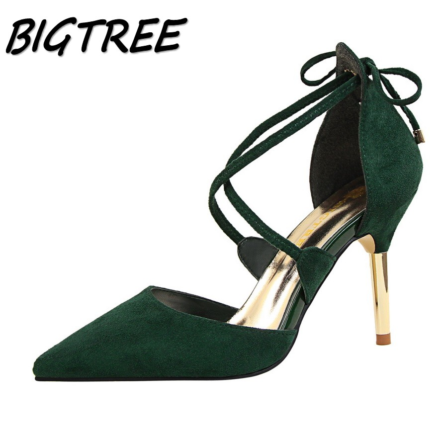 BIGTREE summer sexy women pumps high heels shoes woman Fashion Pointed Toe Cross-tied party wedding Metal heel shoes 34-39 new spring summer women pumps fashion pointed toe high heels shoes woman party wedding ladies shoes leopard pu leather