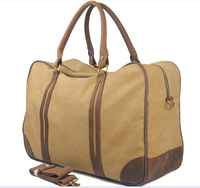 Men Women Canvas Carry On Weekend Solid Khaki Amy Vintage Military Shoulder Hand Travel Luggage Tote