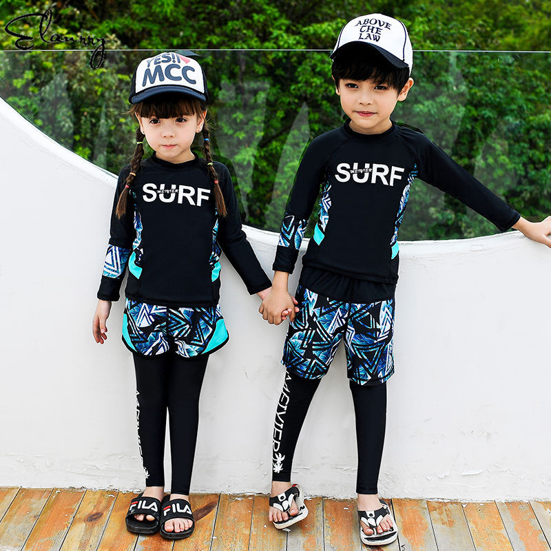 2019 Mujer Children Sport Swimsuit Long Sleeves High Quality 3 Pieces Baby Girl Boy Surfing Suits Beach Wear Sun Protection