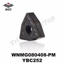 WNMG080408 PM YBC252 carburo di tornitura cnc inserto WNMG TIPO WNMG080408 ZCC. CT UTENSILI di TORNITURA WNMG432 semi finitura per lacciaio