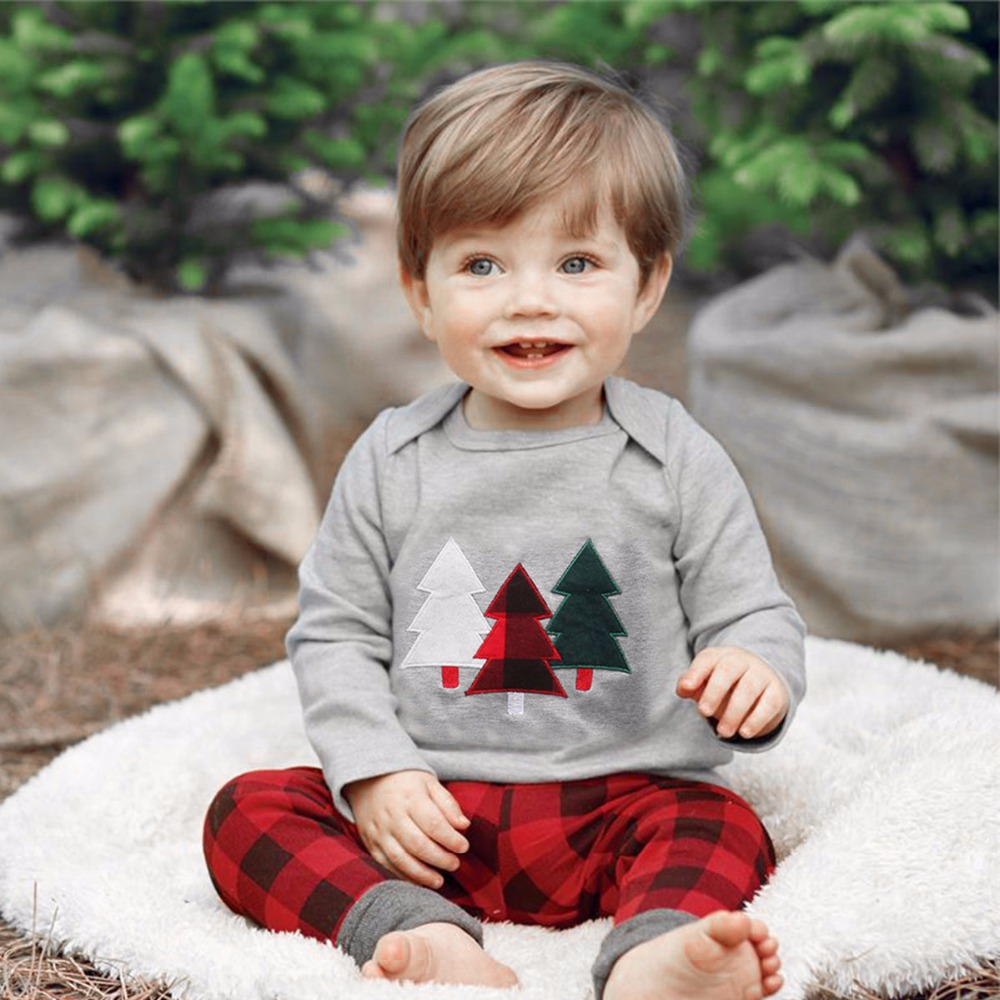 2 pcs Kids Baby girl Clothes Set infant Baby boy t shirt Tops Sleepwear Suit Christmas tree plaid Long pants suit Set outfit baby fox print clothes set newborn baby boy girl long sleeve t shirt tops pants 2017 new hot fall bebes outfit kids clothing set