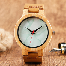 Unique Light Green Marble Pattern Dial Hand-made Wood Watches Brown Genuine Leather Band Fashion