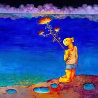 Акриловая ручная роспись китайский художник Ян Цзэминь работы синяя ночь 100X100 см настенные панно комната книги по искусству коллекция гос