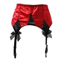 Czerwona satyna Mesh Bow Fishbones metalowe klamry 4 szeroki pasek kobiety/kobieta/pani Sexy pończochy z podwiązkami do pończoch pas pończoch S511R