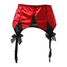 Red Satin Mesh Bow Fishbones Metal Buckles 4 Wide Straps Women/Female/Lady Sexy Garter Belts For Stockings Suspender Belt S511R
