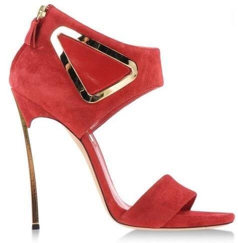 Rouge de haute Qualité En Daim Cuir Triangle découpé Sandales Pour Femmes Lame D'été À Talons chaussures Habillées femme Formelle Femmes Pompes
