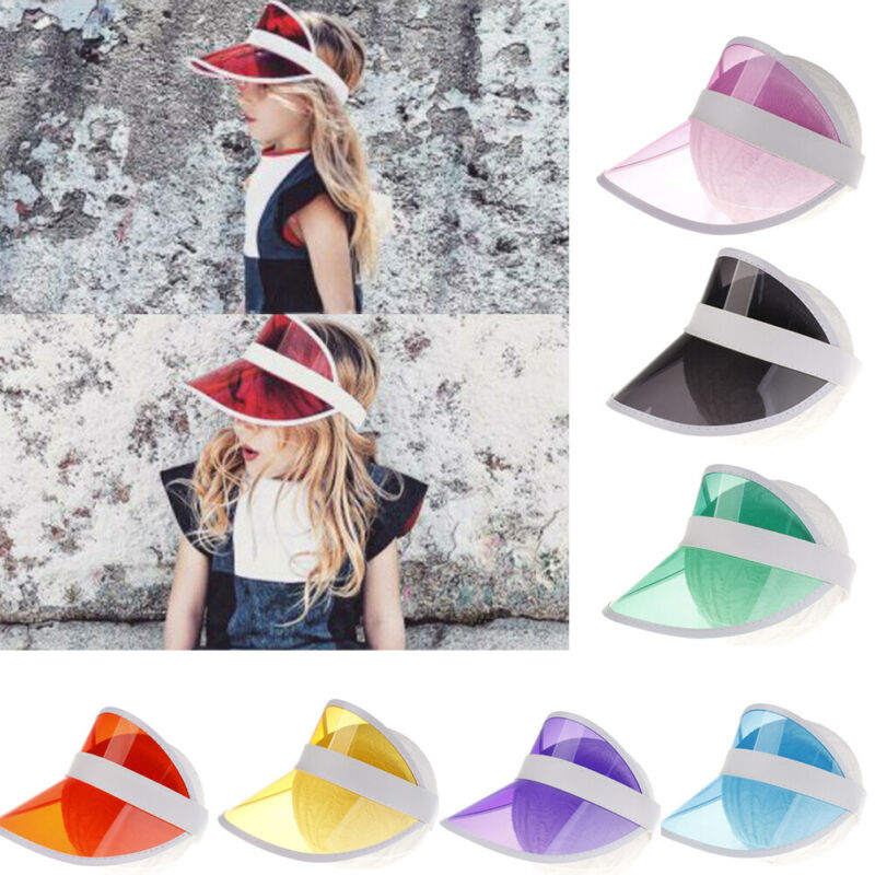 Summer Unisex Kids Sun Hat Candy Color Transparent Empty Top Plastic PVC Sunshade Hat Visor Caps Bicycle Sunhat 3-10 year(China)