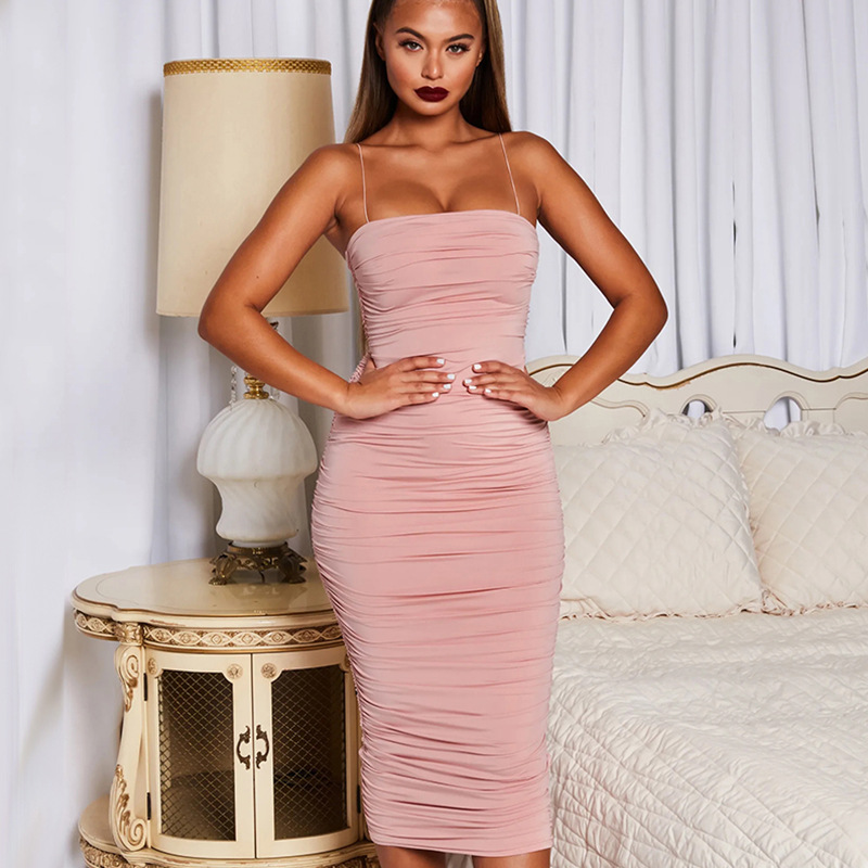 Strapless Draped Bandage Sexy Dress New Summer Hot Ins Style Bodycon Solid Midi Club Dress Spaghetti Strap White Red Women Dress