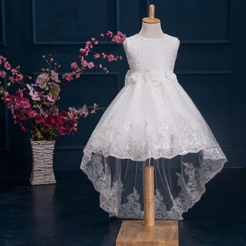 2017 new Flower Lace Girls Dress Princess Dresses solid Wedding Dress Girl Clothing Sleeveless Ball Gown Girl Costume Kids ds003