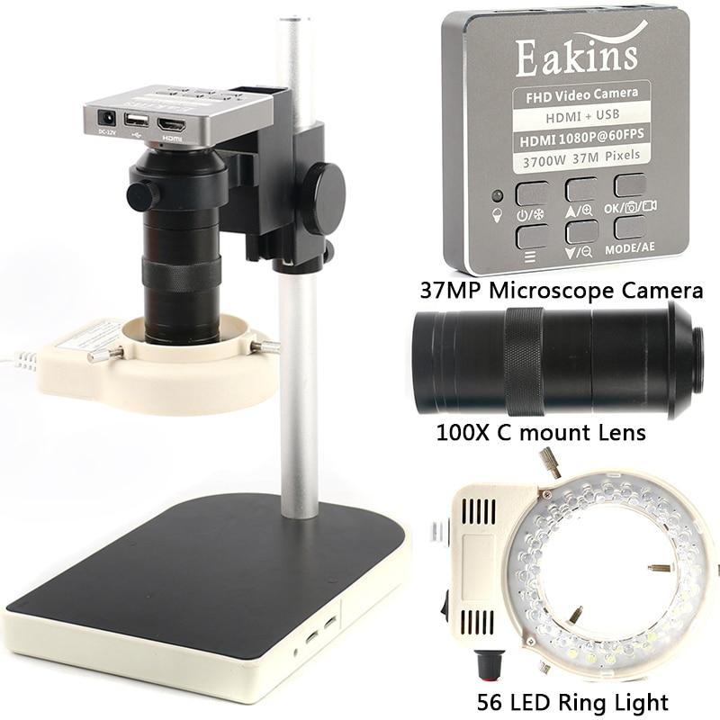 HDMI USB 37MP 1080P 60FPS TF микроскоп камера 100X зум цифровой видео регистратор 56 светодиодный светильник кольцо для телефона PCB ремонт припоя
