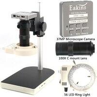 Microscopio para reparación electrónica, cámara digital con zoom de 100X, 37 MP, 60 FPS, vídeo grabadora, anillo de 56 luces LED, HDMI, USB, ranura TF, para soldadura y reparación de móvil y PCB