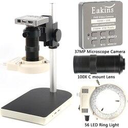 Микроскоп HDMI USB 37MP 1080P 60FPS, микроскоп с зумом 100X, цифровой видеорегистратор, 56 светодиодов, кольцевой светильник для ремонта телефонов, печатн...