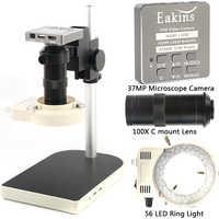 HDMI USB 37MP 1080P 60FPS TF mikroskopowa kamera 100X Zoom cyfrowy rejestrator wideo 56 lampa pierścieniowa led do telefonu PCB lutowane naprawy