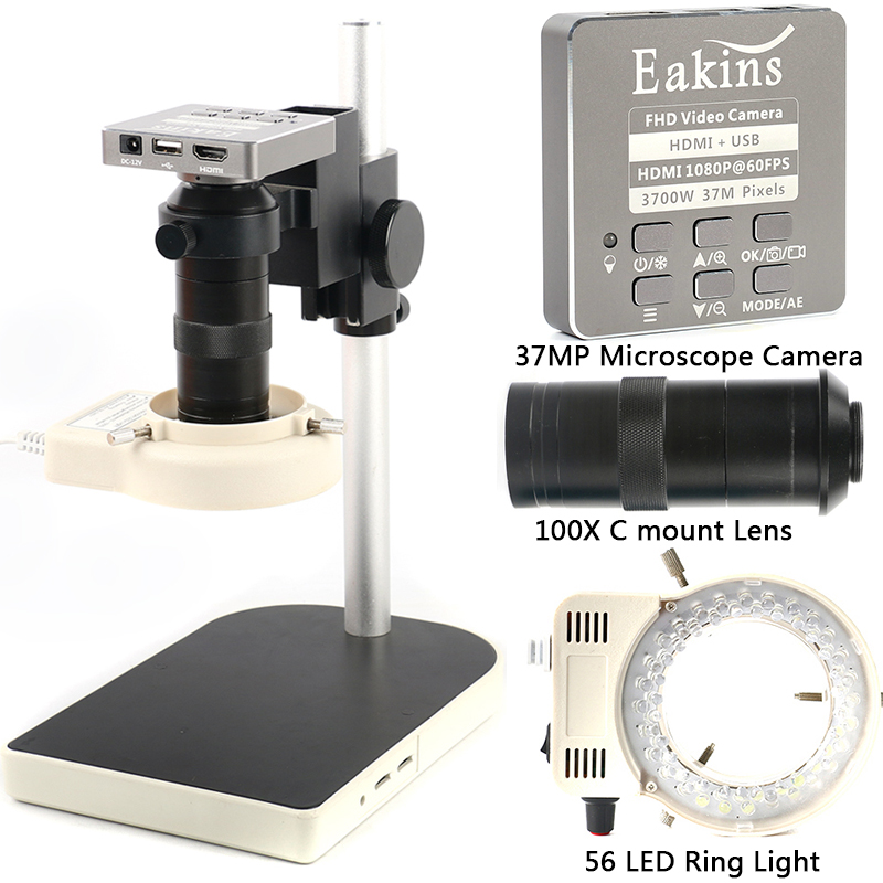 HDMI <font><b>USB</b></font> 37MP 1080P 60FPS TF <font><b>Microscope</b></font> Camera <font><b>100X</b></font> Zoom Digital Video Recorder 56 LED Ring Light For Phone PCB Solder Repair image