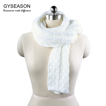 White Knitted Scarf For Women Winter 2017 Solid Plain Scarf Elegant Lady Twisted Flower Stripe Thick Warm Long Female Scarves