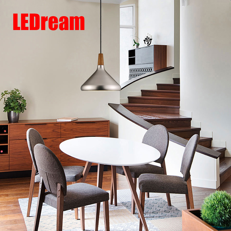 Modern Wood Pendant Lights Lamparas Gold Silver Aluminum Lamp Shade Luminaire Dining Room
