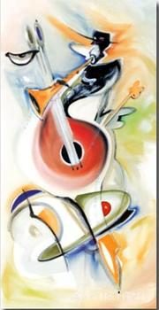 Jammin music oil paintings on canvas alfred gockel modern abstract art hand painted for hotel decoration