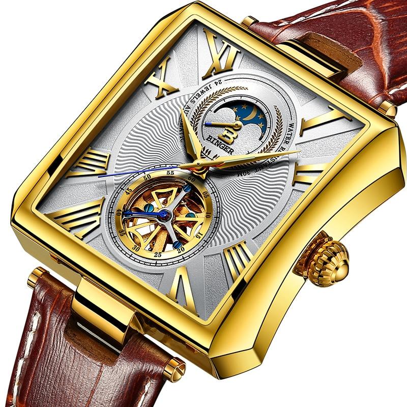 NEW Automatic Mechanical Watch Men Sapphire Binger Luxury Brand Waterproof Watches Male Tourbillon Wrist Watch Clock B-5071M-2