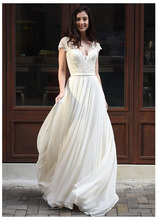 цена на SoDigne Wedding Dress Cap Sleeves Lace Appliques Bride Dress V Neck Romantic Backless Bridal Gown Floor Length Wedding Gowns