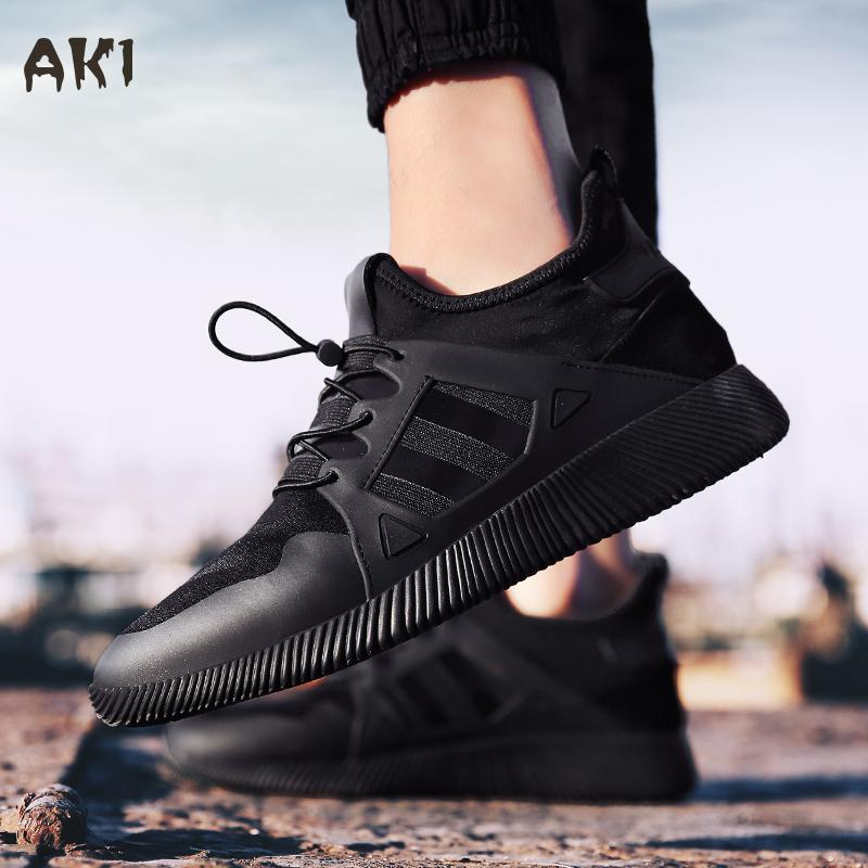 ФОТО 2017 New Black Air Trainers Men's Early Winter Autumn Shoes Flat Shoes Walking Casual Soft Breathable Mesh Male Classic Shoes