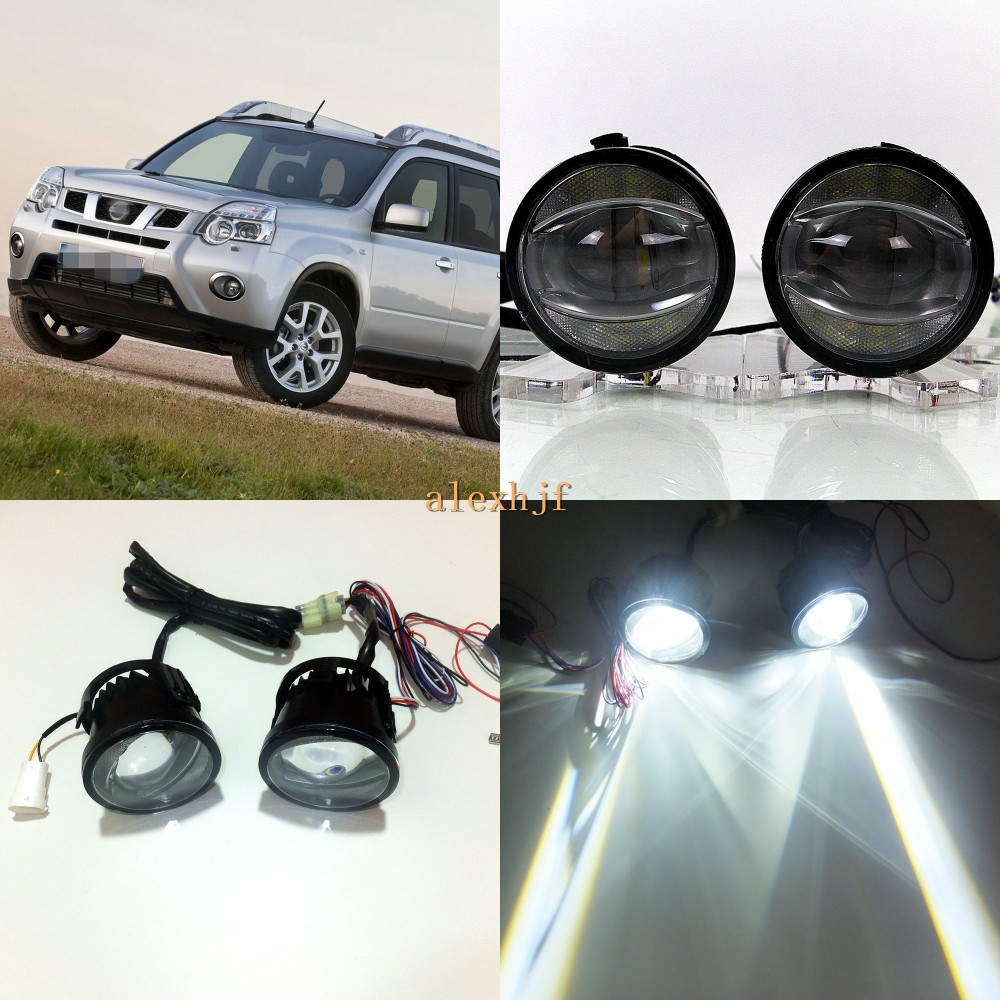 July King 1600LM 24W 6000K LED Light Guide Q5 Lens Fog Lamp+1000LM 14W Day Running Lights DRL Case For Nissan X-trail T31 07~14