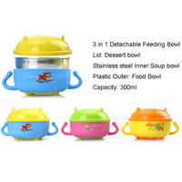 Detachable Baby Feeding Dish Bowl Anti Slip Children Tableware Dinnerware Stainless Steel Bowl Baby Feeder Food