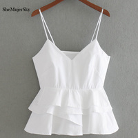 SheMujerSky White Crop Top Women 2017 Summer Sleeveless Halter Tops Femme Sexy Cropped