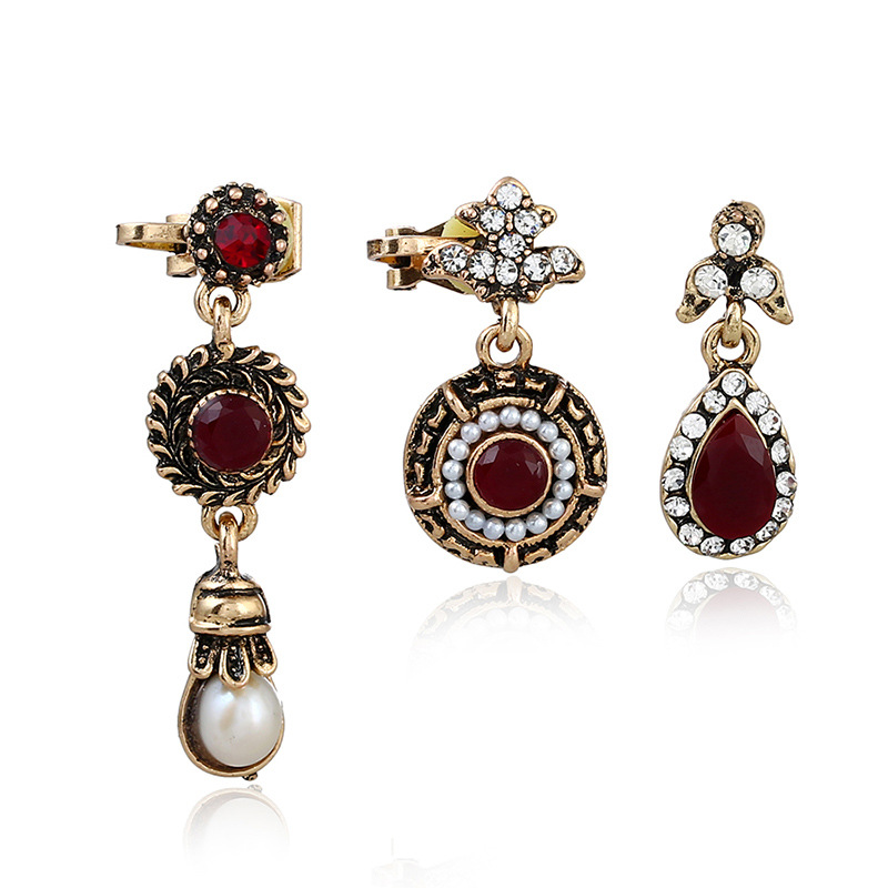 Retro Rhinestone Fake Pearl Waterdrop Clip Ears Set Antique Gold Color Multiple Clip Without Piercing Cuff Ladies Earrings 2018