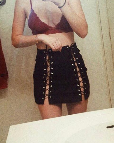 HTB1S3RlQFXXXXa3XpXXq6xXFXXXx - FFREE SHIPPING Women High Waist Lace Up Skirt Suede Leather  JKP316