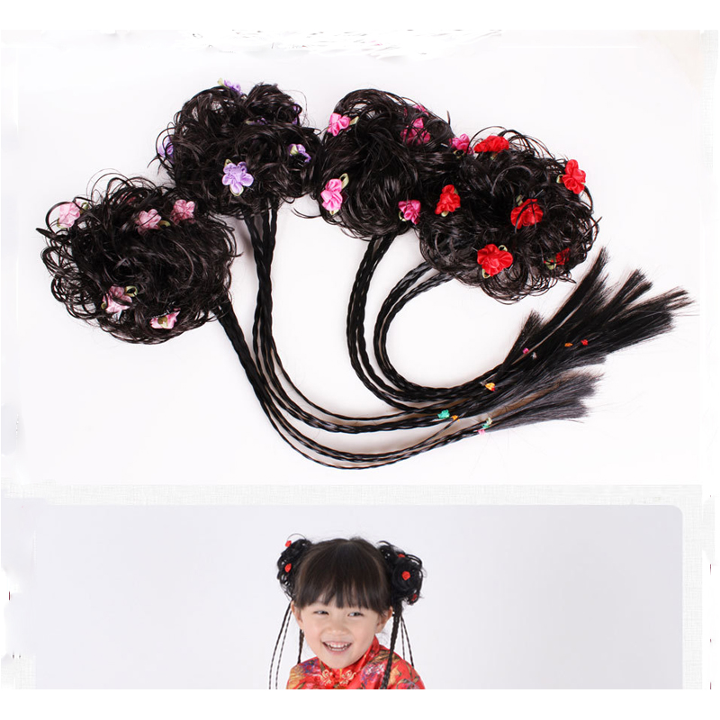 1Pcs Children Wig Braids Ribbon Bows Flower Hair Clips Accessories Girl Hair Lovely Wig Braids Headwear Popular Kids Gift in Hair Accessories from Mother Kids