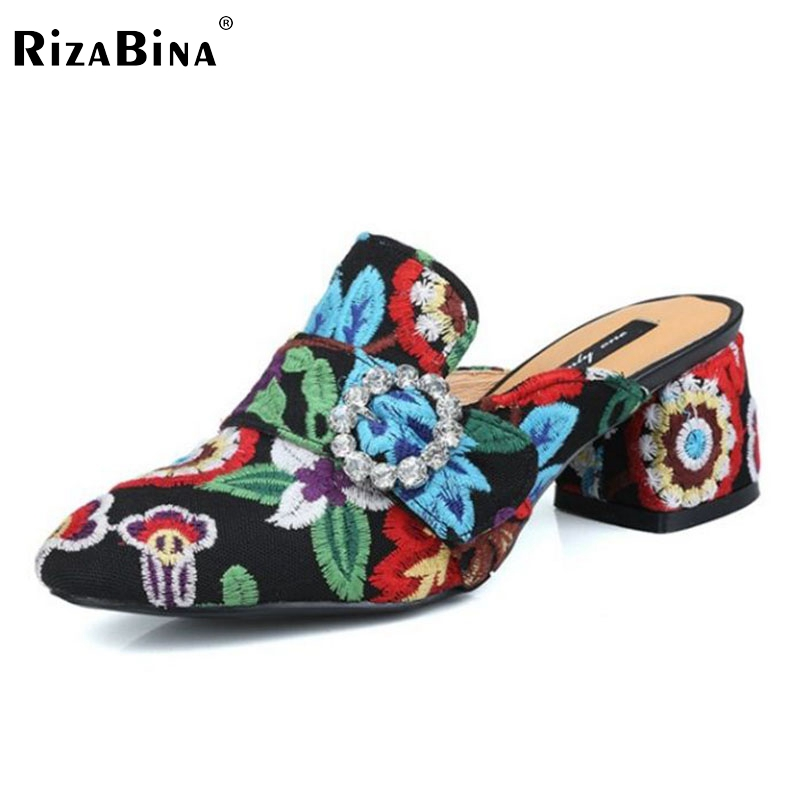 RizaBina Fashion Women Real Genuine Leather High Heel Sandals Women Flower Print Thick Heel Slipper Summer Sexy Shoes Size 33-40 2017 summer new women sandals slipper shoes fashion rhinestone thick high heel female slides snadals black plus size shoes xp35