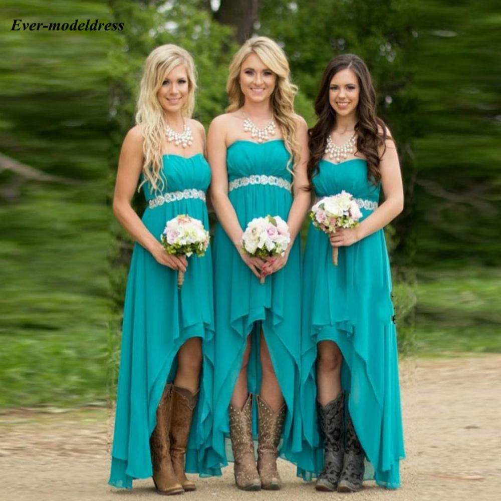 Green High Low   Bridesmaid     Dresses   With Sashes Chiffon Strapless Sleeveless Simple Hi-Lo Wedding Guest Party Gowns Custom Made