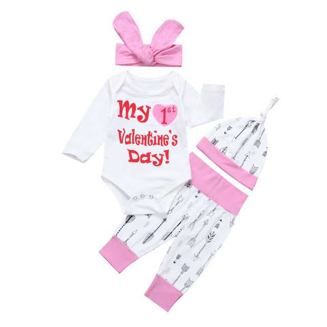 106da7808 4PCS Newborn Infant Baby Girl First Birthday Outfit Girl Clothes Set ...