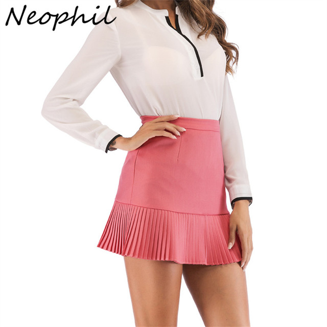 3fe3e0338cb99 Neophi 2019 Summer Micro Mini Skirts Women Ruffles Pleated Preppy Style  Elegant Ladies Basic Short School Skirt Tutu Saia S2918