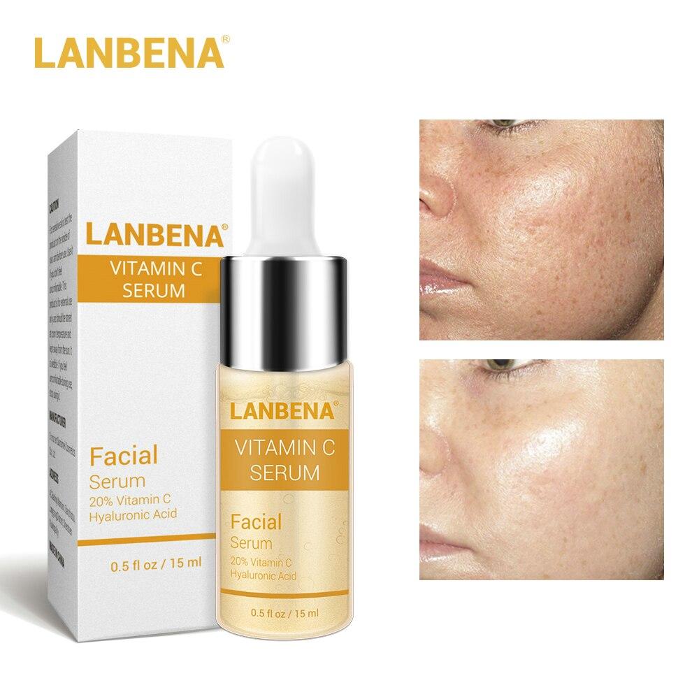 LANBENA máscara con esencia de suero vitamina C, mascarilla para eliminar manchas de pecas, se desvanece, blanqueadora y cuidado de la piel, blanqueadora y antiarrugas|Suero|   - AliExpress