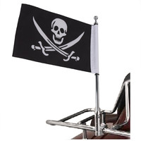 Custom Universal Motorcycle Silver Plate Rear Side Tail Luggage Rack Mount Flag Pole With Skull Flag