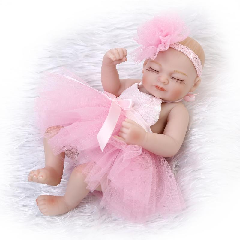 25cm Full silicone reborn baby dolls font b toy b font mini newborn girl bibies collectable