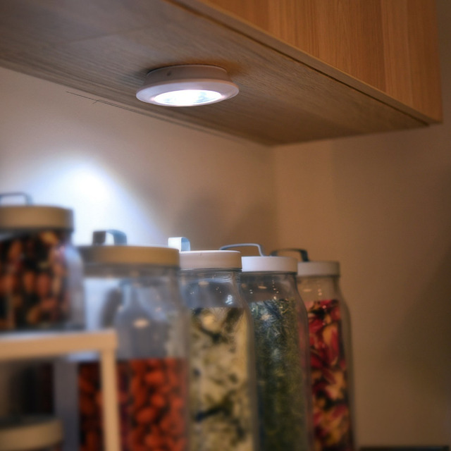 Easy Installation LED Battery Operated Stick On Cabinets Wireless Closets  Under Cabinets Cupboards Lights White Wall