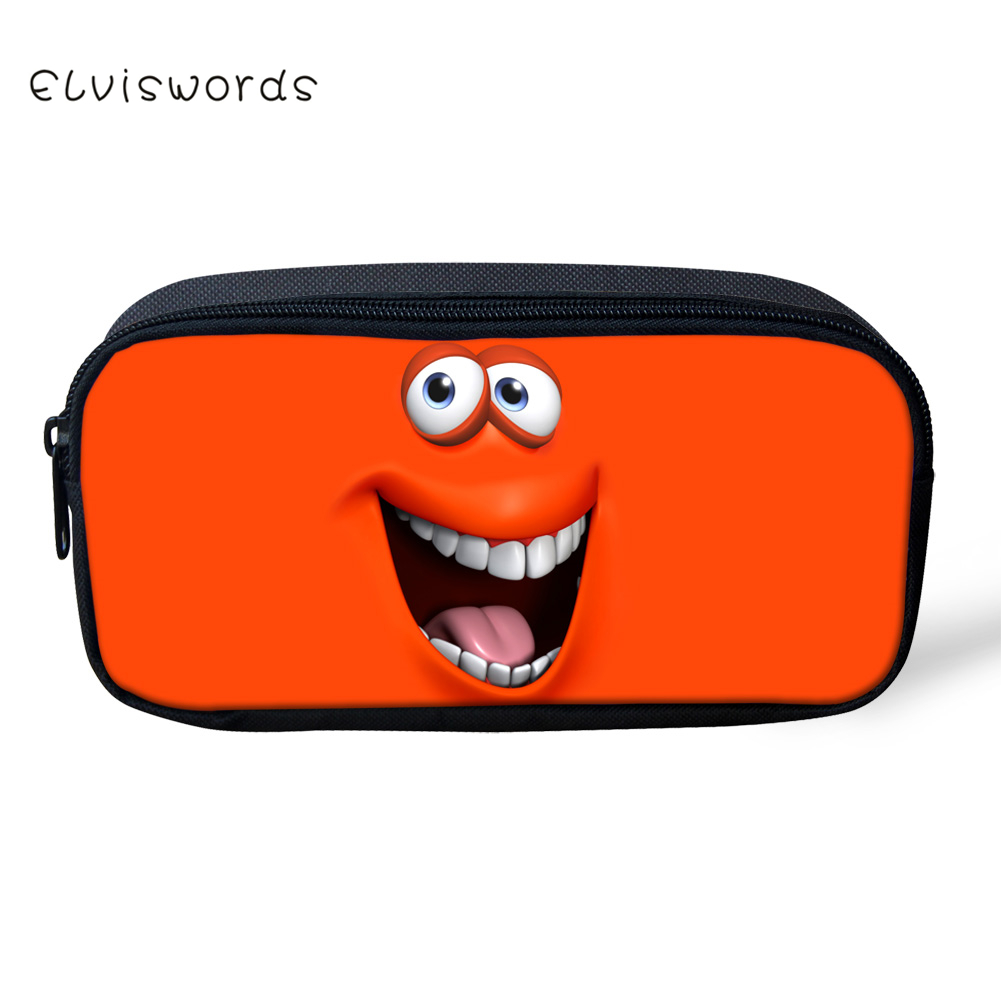ELVISWORDS Cute Cheerful Smile Face Printing Pencil Case for Students Children Girls Boys Stationery School Supplies Box