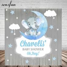Sensfun Elephant Boys Baby Shower Backdrop Blue Moon Stars Clouds Grey Wood Children Birthday Party Photography Backgrounds