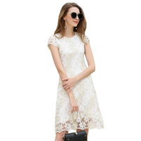 2017 Summer Women Sexy White Lace Dress Female Petal Sleeves Floral Embroidered Slim Vestido De Festa