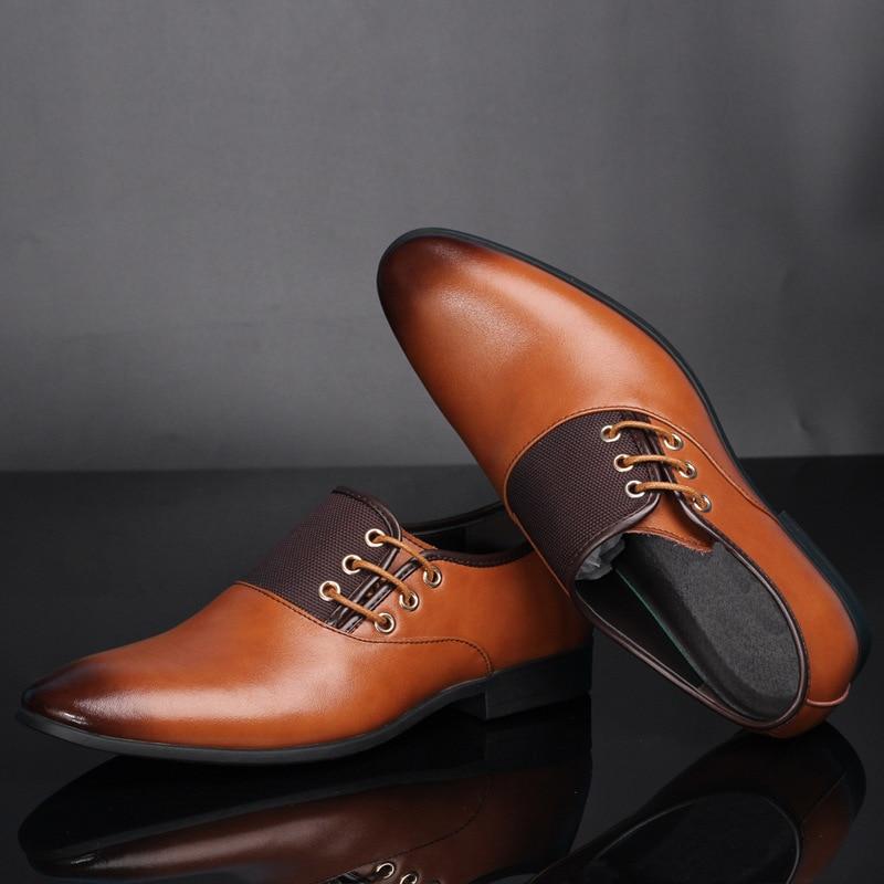 Brown Sapatos Homens Flats Negócios Big Yellow Tamanho Up Cavalheiro Hombre Lace Couro De Casuais Designer brown Dos 28 Oxford 66 black Zapatos IxwHpf8