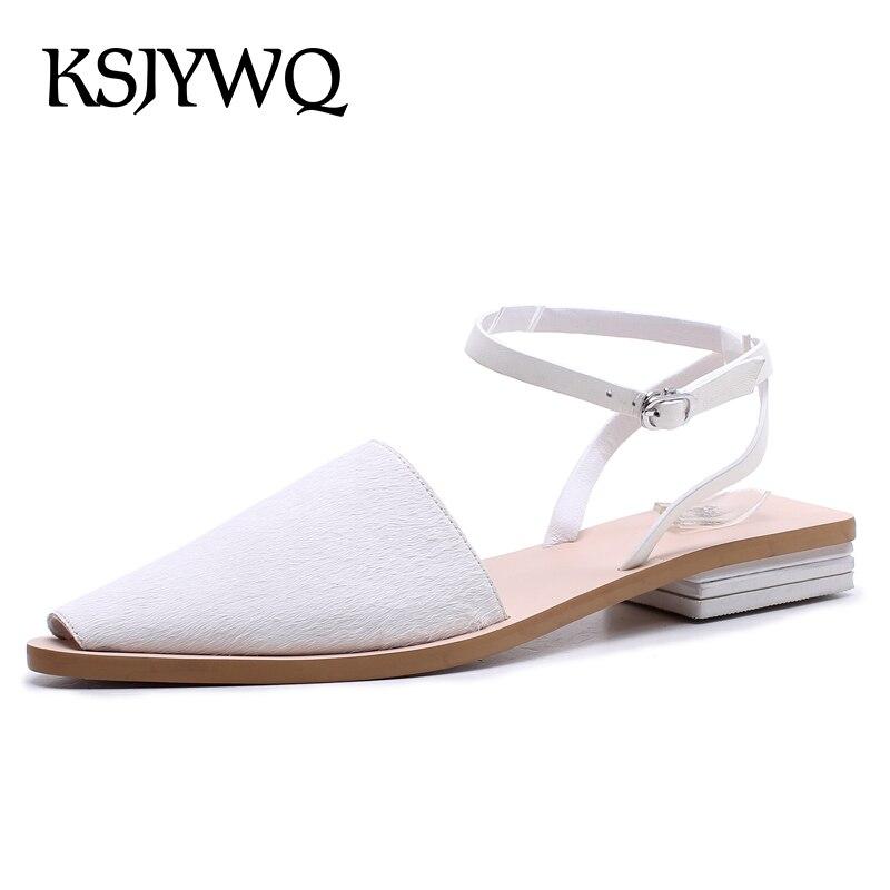 KSJYWQ Sexy Peep-toe Women White Sandals 1.5 CM Low Heels Summer Style Leather Buckle Shoes Women Party Sandal Box Packing D359 women sandals shiny leather peep toe