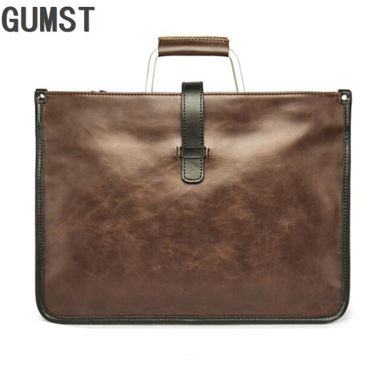 Metal Handle Leather Briefcase Men Bag Business Handbag Bolso Hombre Male Laptop Shoulder Bags Tote Natural Skin Men Briefcase