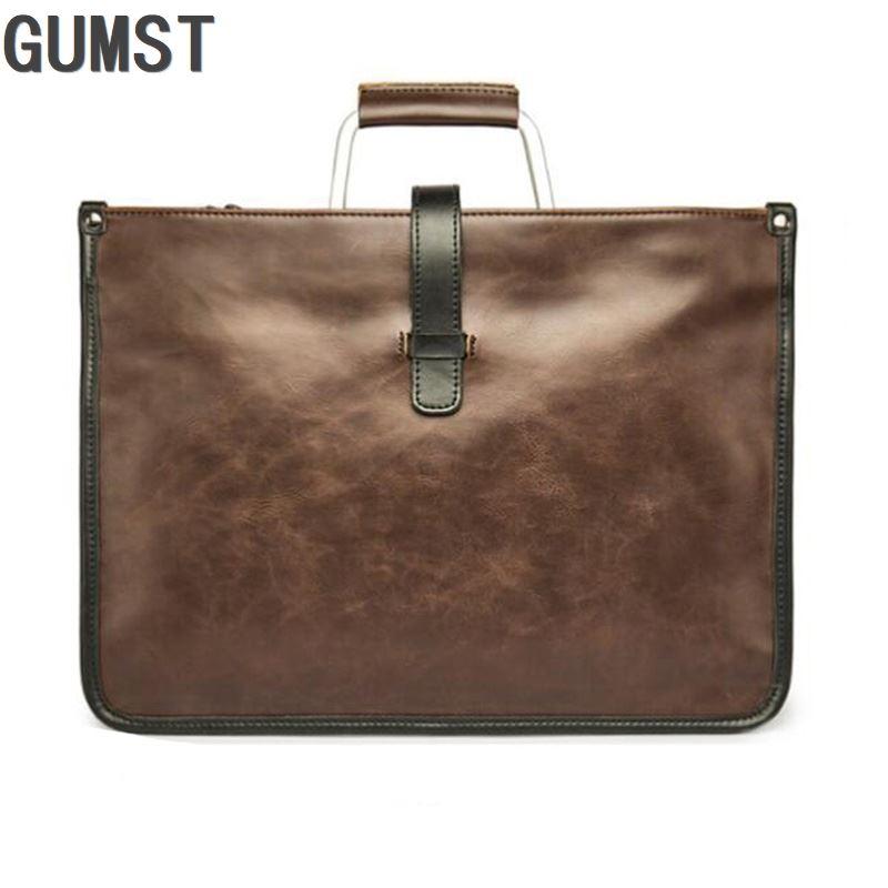 Metal Handle Leather Briefcase Men Bag Business Handbag Bolso Hombre Male Laptop Shoulder Bags Tote Natural Skin Men Briefcase
