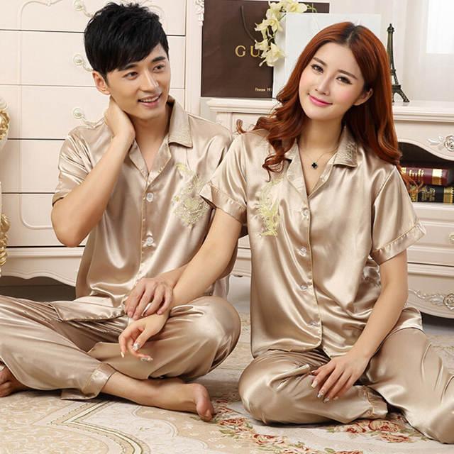 849d1fa99d Chinese Silk Pajamas For Women   Men Couples Matching Pajamas Homewear  Spring Autumn Long Sleeve Silk