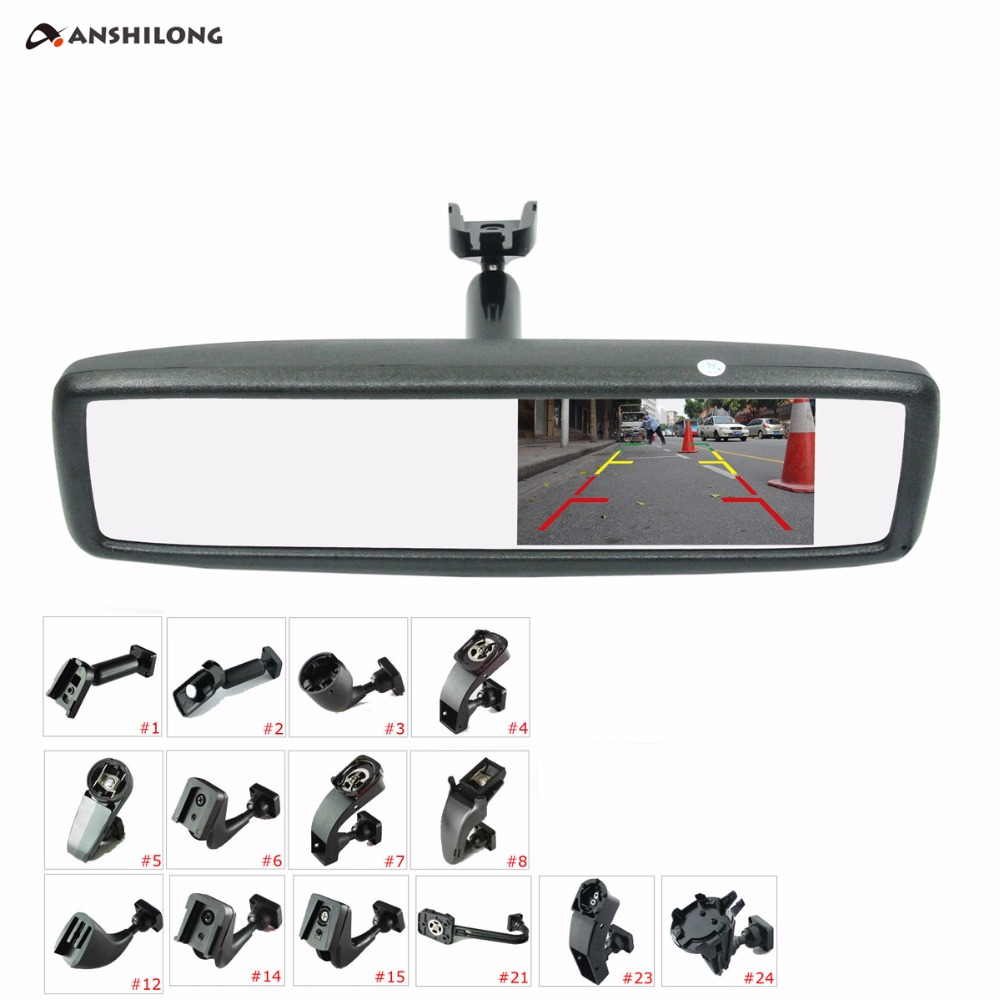 ANSHILONG 4.3 TFT-LCD Special Rear View Mirror Car Monitor with Bracket 2CH Video Input