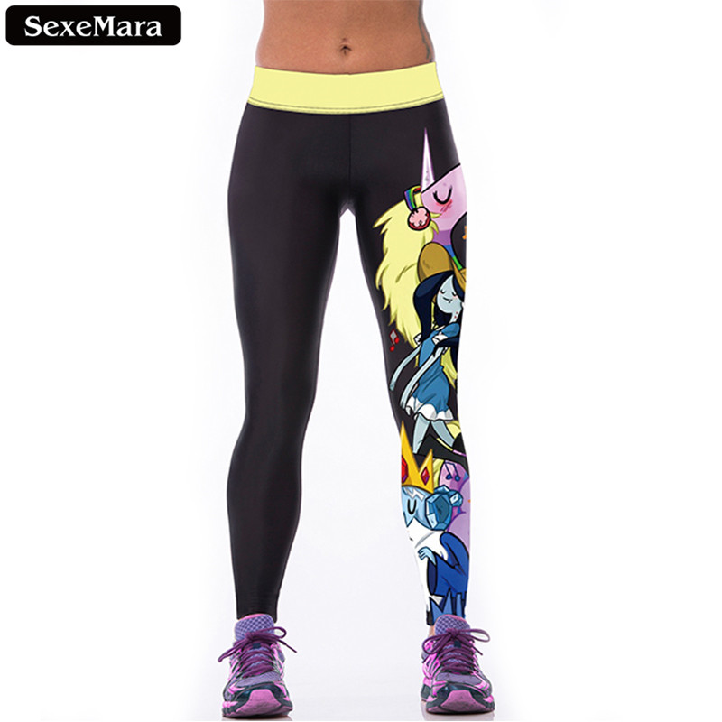 SexeMara Flash Sale Adventure Time Unicorn Leggings Women Kawaii Cartoon Elastic Leggins  Fitness Skinny Youth Pants F1524