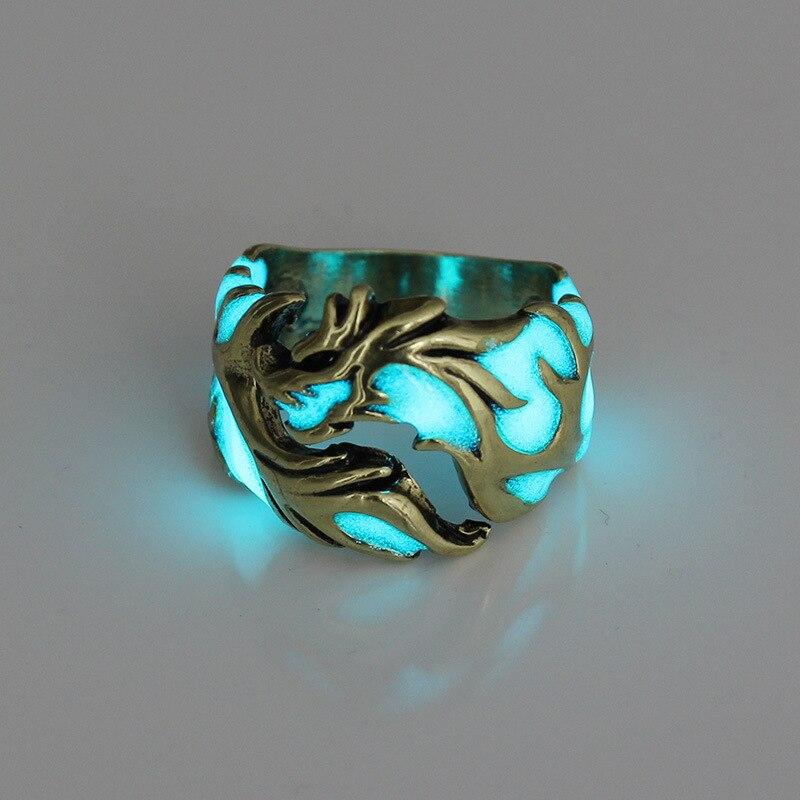 Mens Ring Luminous Dragon Rings for Men Women Rings Glow In s